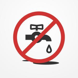Stop water leak sign, water tap and drop icon