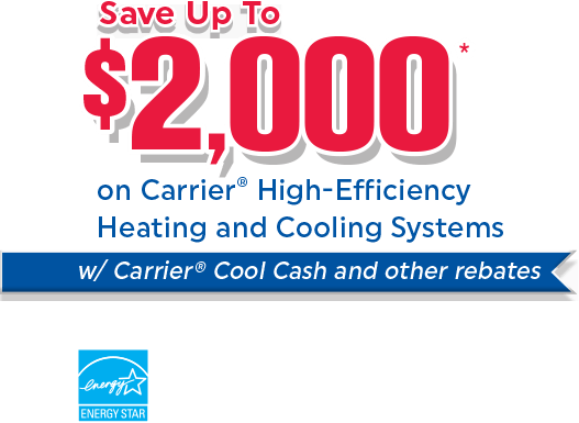 Save Up To $2,000 with dealer and utility rebates PLUS a FREE Nest Learning Thermostat with the purchase of select Carrier Air Conditioning Systems. Click for Detials.