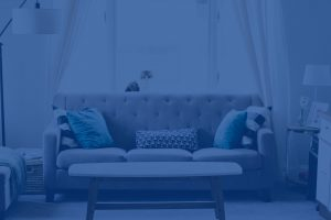 Living room with couch with a blue overlay