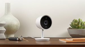 NEST Cam IQ sitting on a desk