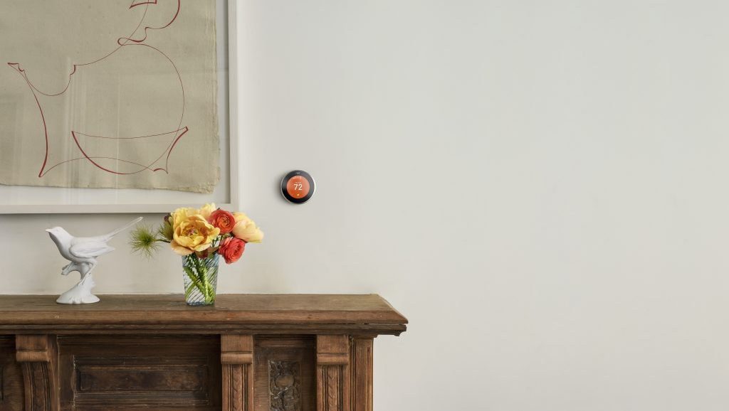 Wall with NEST thermostat mounted