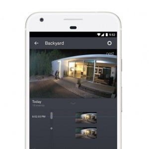 NEST Cam IQ Outdoor App on a cell phone, vertical