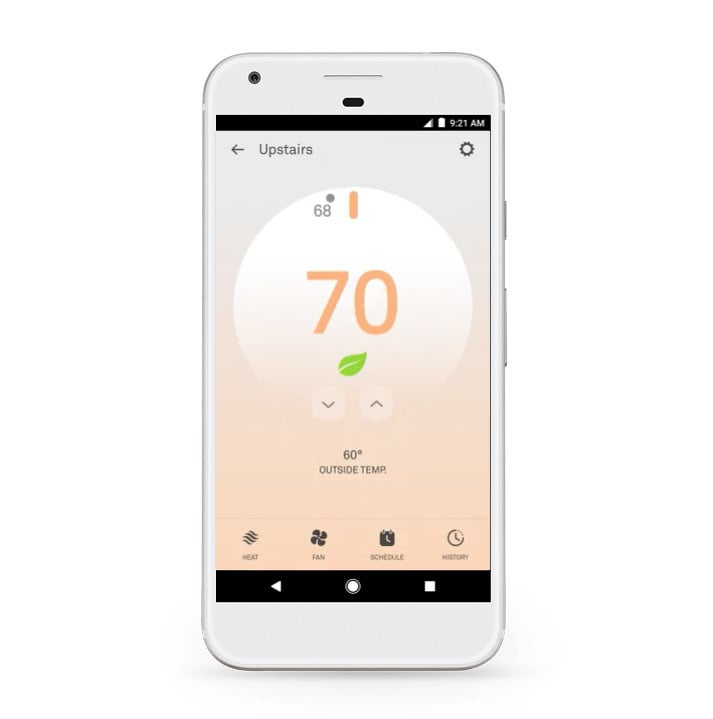 A cell phone showing the NEST Thermostat app