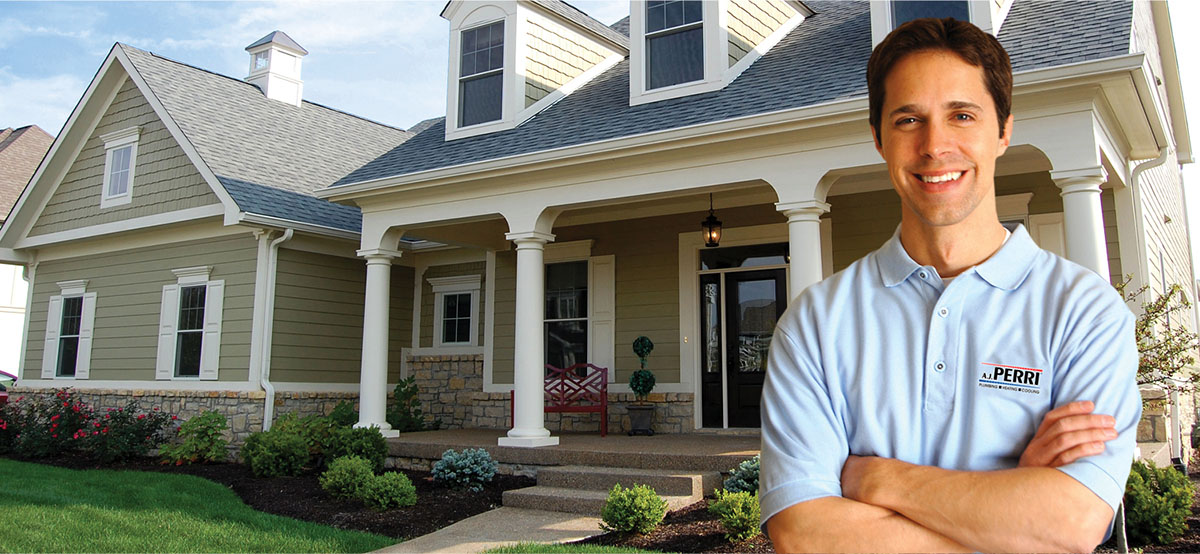 Service man standing in front of a home